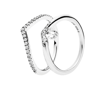 Sparkling Wishbone Ring Gift Set