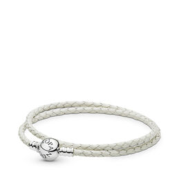 Moments Double Woven Leather Bracelet, Ivory White, Sterlingsølv, Læder, Hvid, Ingen sten - PANDORA - #590745CIW-D