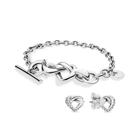 Knotted Heart Bracelet Gift Set