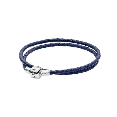 Moments Double Woven Leather Bracelet, Dark Blue