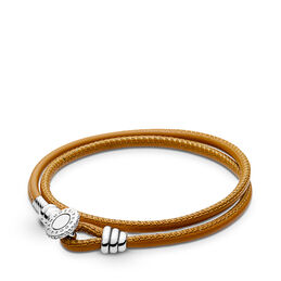 Moments Double Leather Bracelet, Golden Tan, Sterlingsølv, Læder, Brun, Kubisk zirkonia - PANDORA - #597194CGT-D