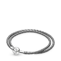 Moments Double Woven Leather Bracelet, Silver Grey, Sterlingsølv, Læder, Grå, Ingen sten - PANDORA - #590745CSG-D