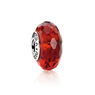 Red Faceted Glass