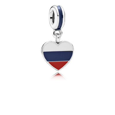 Russia heart flag silver dangle with white, blue and red enamel