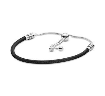 Pandora Moments Black Leather Slider Armbånd