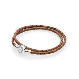 Moments Double Woven Leather Bracelet, Brown, Sterlingsølv, Læder, Brun, Ingen sten - PANDORA - #590745CBN-D