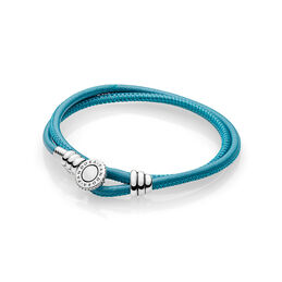 Moments Double Leather Bracelet, Turquoise, Sterlingsølv, Læder, Turkis, Kubisk zirkonia - PANDORA - #597194CTQ-D