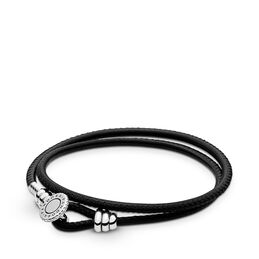 Moments Double Leather Bracelet, Black, Sterlingsølv, Læder, Sort, Kubisk zirkonia - PANDORA - #597194CBK-D