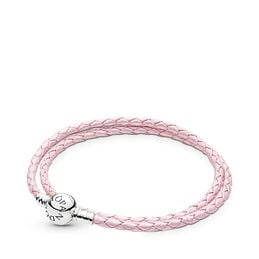 Moments Double Woven Leather Bracelet, Pink, Sterlingsølv, Læder, Pink, Ingen sten - PANDORA - #590745CMP-D