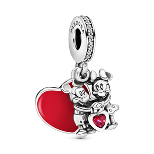 Disney Mickey Mouse & Minnie Mouse Love Charm med vedhæng