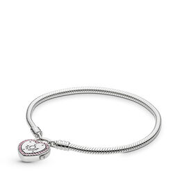 Moments Smooth Silver Bracelet, Lock Your Promise, Sterlingsølv, Ikke andet materiale, Pink, Kubisk zirkonia - PANDORA - #596586FPC