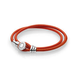 Moments Double Leather Bracelet, Spicy Orange, Sterlingsølv, Læder, Orange, Kubisk zirkonia - PANDORA - #597194CSO-D
