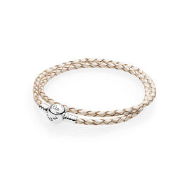 Moments Double Woven Leather Bracelet, White, Sterlingsølv, Læder, Hvid, Ingen sten - PANDORA - #590745CPL-D