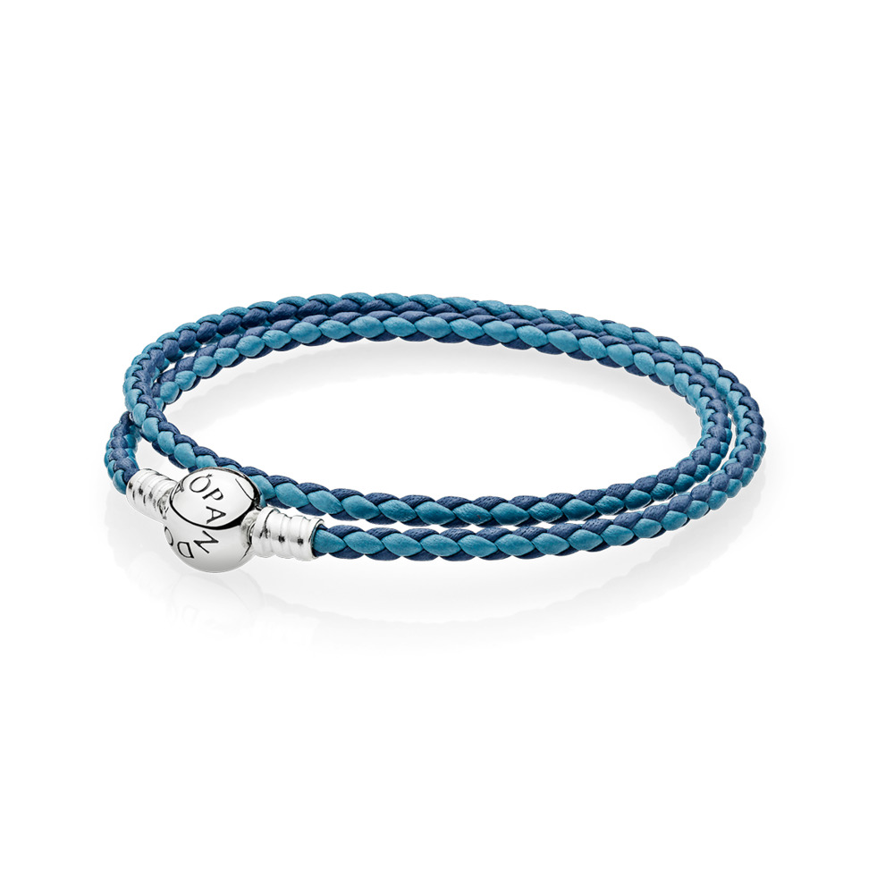 Moments Double Woven Leather Bracelet, Blue Mix