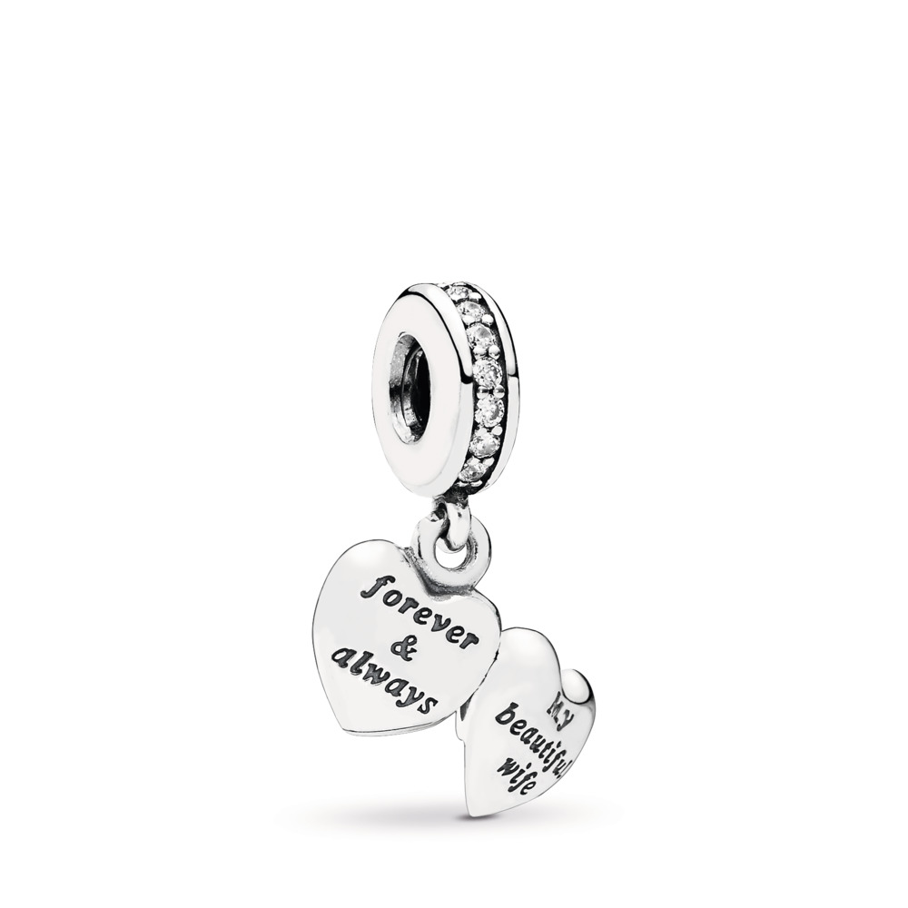 My beautiful wife heart silver dangle with cubic zirconia