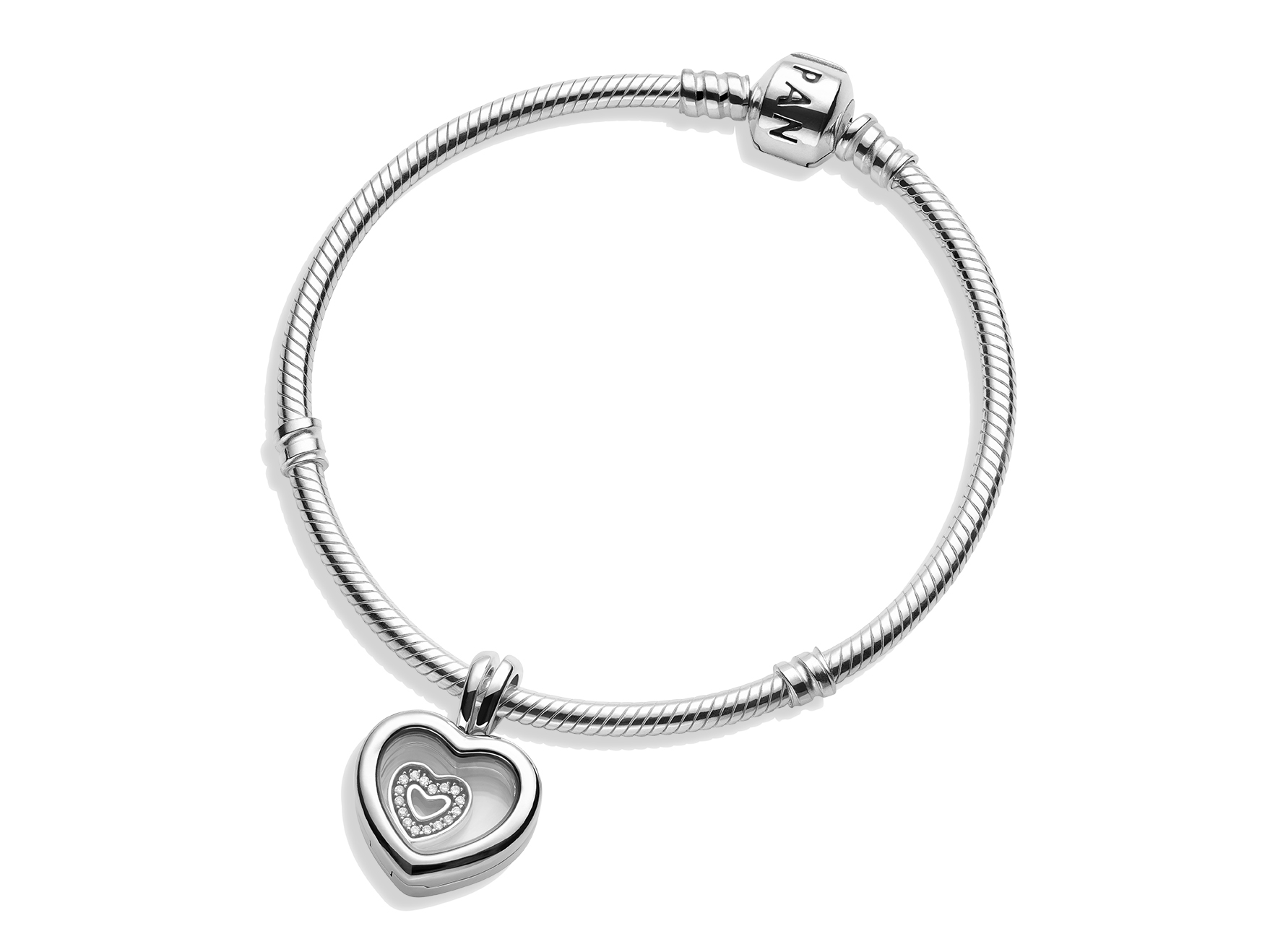 SET: ARMBÅND & FLOATING HEART LOCKET