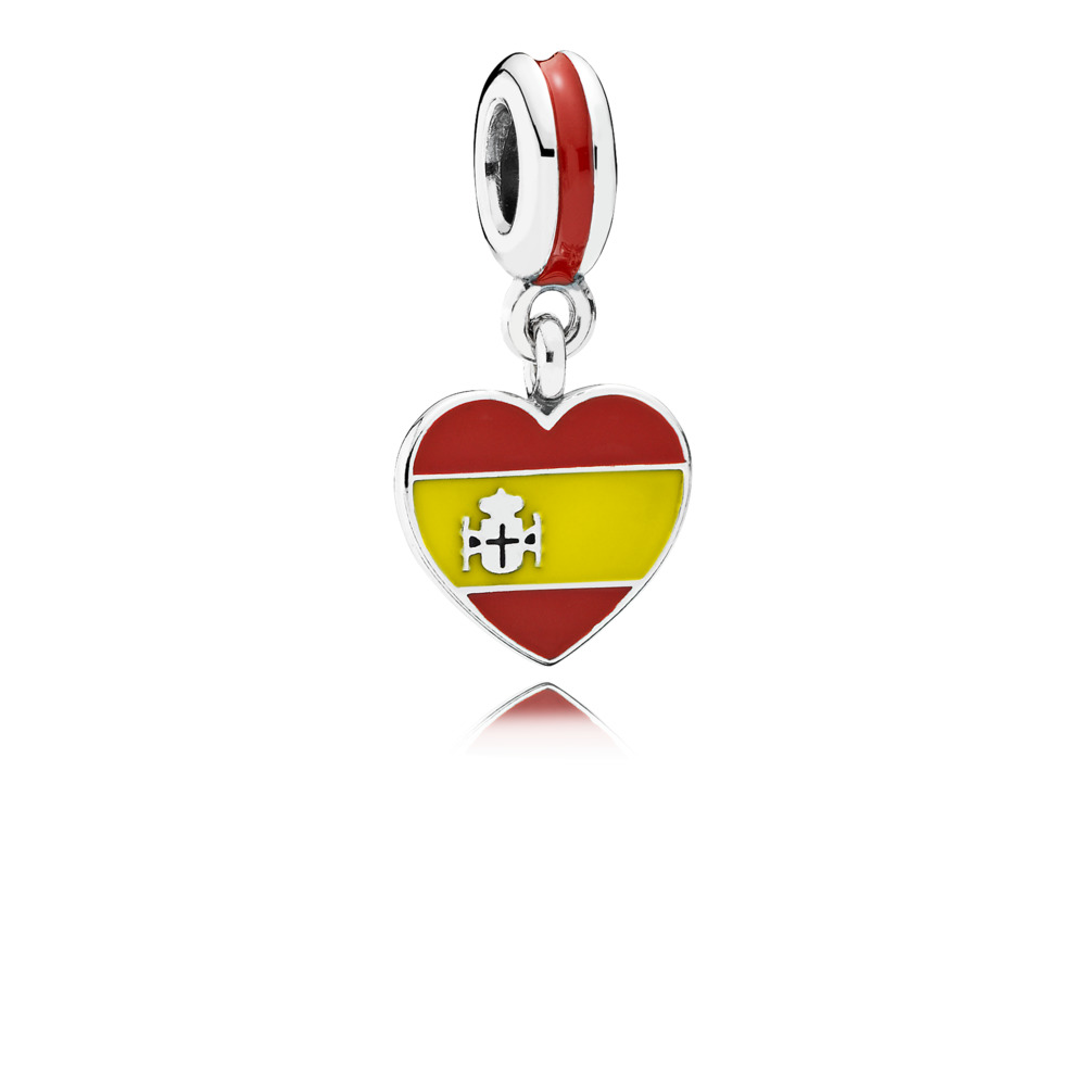 Spain heart flag silver dangle with red and yellow enamel