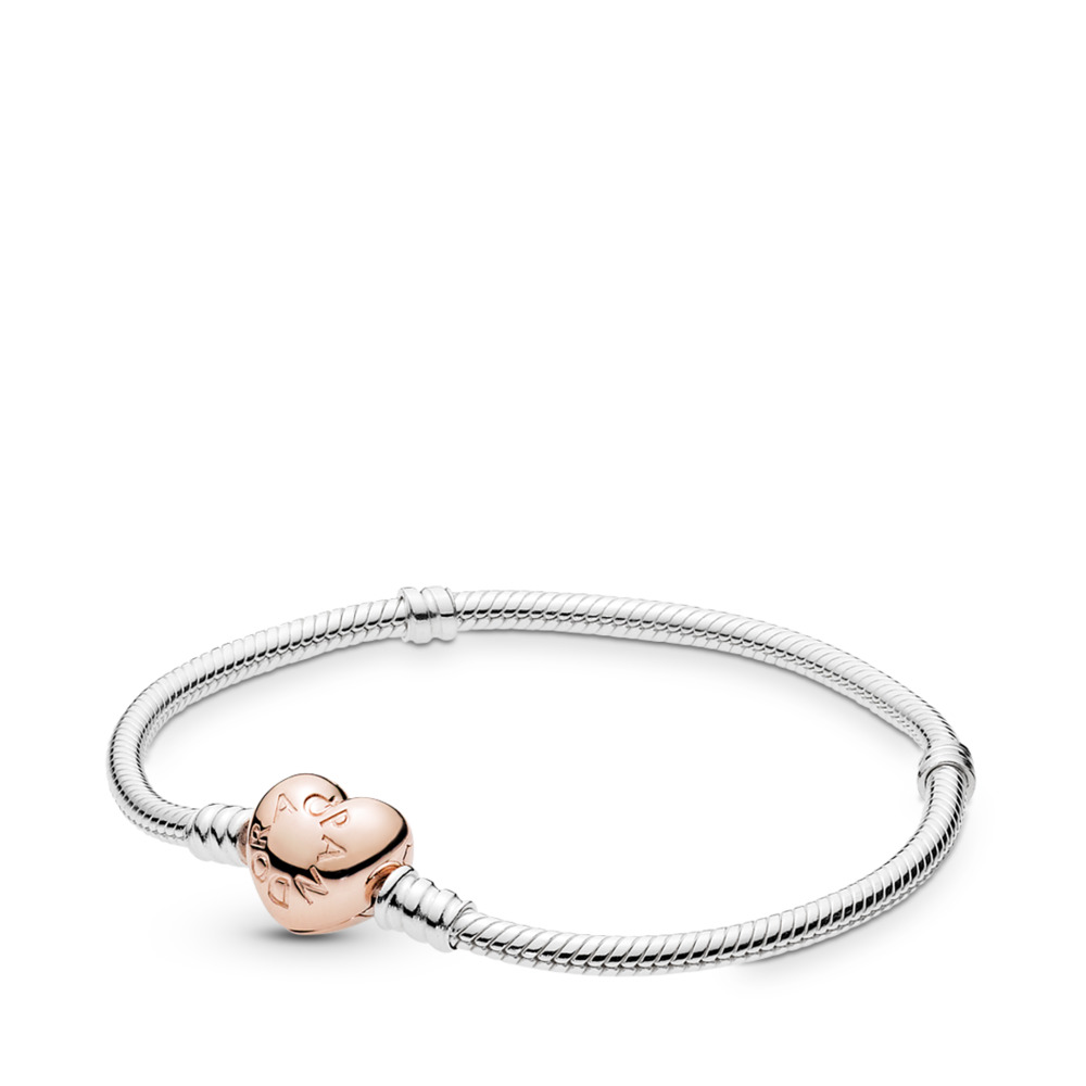 Moments Silver Bracelet, PANDORA Rose Heart