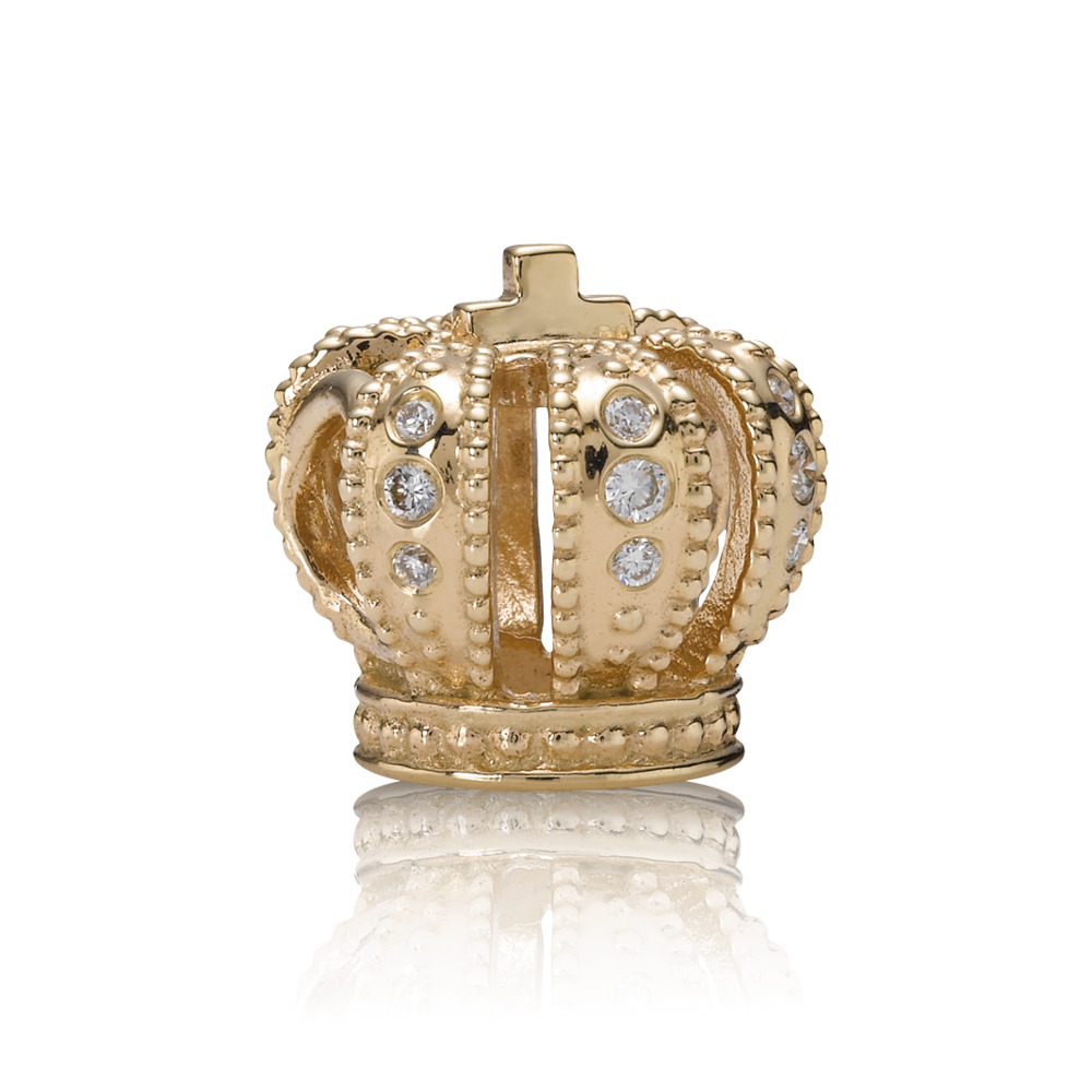 Majestic Crown, gold charm, 0.108ct TW h/vs diamonds