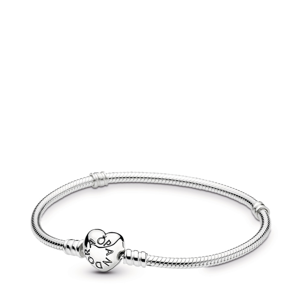 Moments Silver Bracelet, Heart Clasp
